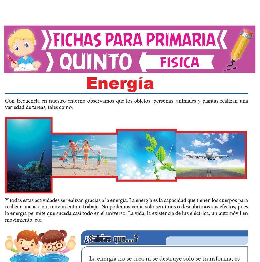 Ficha de Energía para Quinto Grado de Primaria