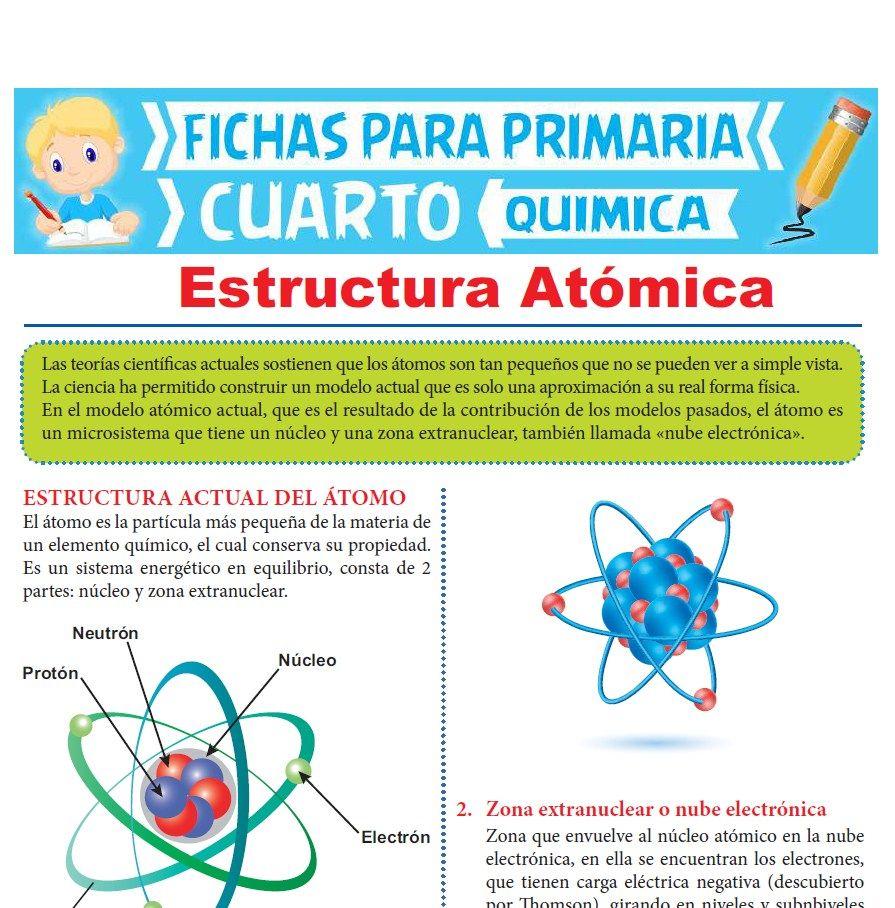 Ficha de Estructura Atómica para Cuarto Grado de Primaria