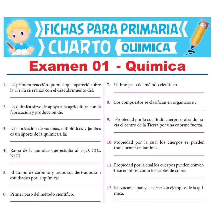 Ficha de Evaluación de Química para Cuarto Grado de Primaria