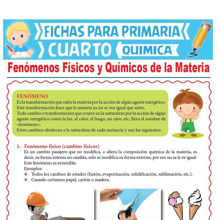 Ficha de Fenómenos Físicos y Químicos de la Materia para Cuarto Grado de Primaria
