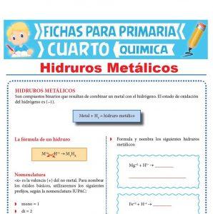 Ficha de Hidruros Metálicos para Cuarto Grado de Primaria