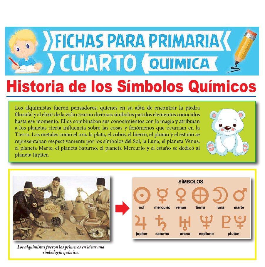 Ficha de Historia de los Símbolos Químicos para Cuarto Grado de Primaria