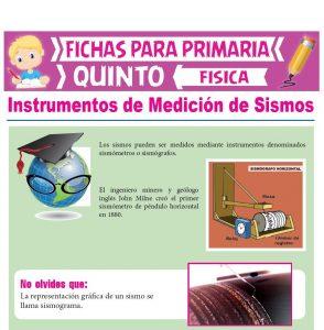 Ficha de Instrumentos de Medición de Sismos para Quinto Grado de Primaria