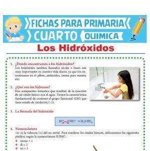 Ficha de Los Hidróxidos para Cuarto Grado de Primaria