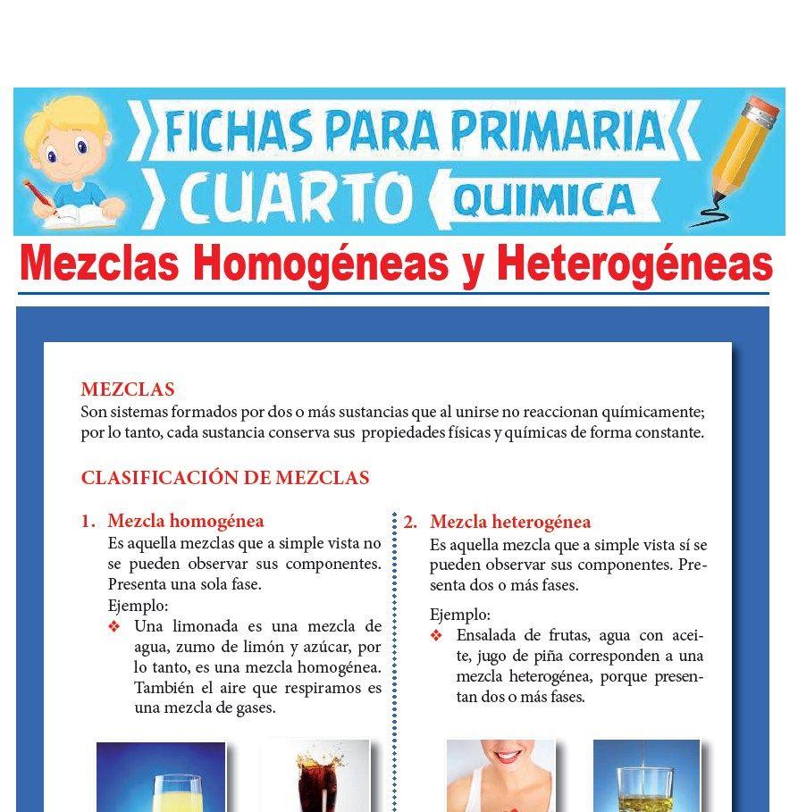 Ficha de Mezclas Homogéneas y Heterogéneas para Cuarto Grado de Primaria