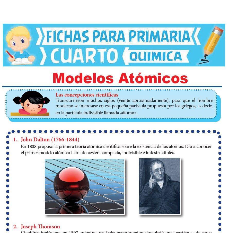Ficha de Modelos Atómicos para Cuarto Grado de Primaria