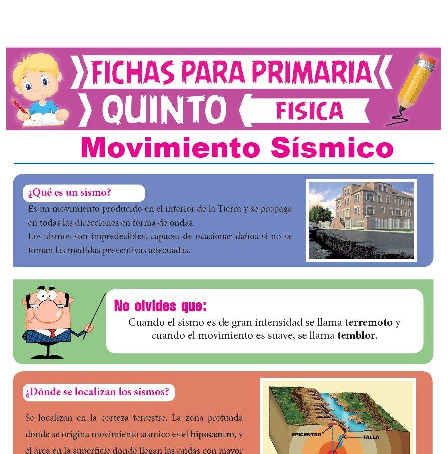 Ficha de Movimiento Sísmico para Quinto Grado de Primaria