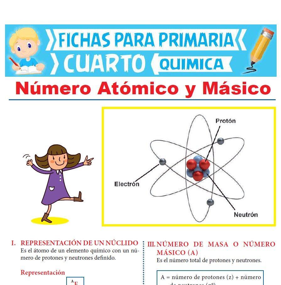 Ficha de Número Atómico y Másico para Cuarto Grado de Primaria