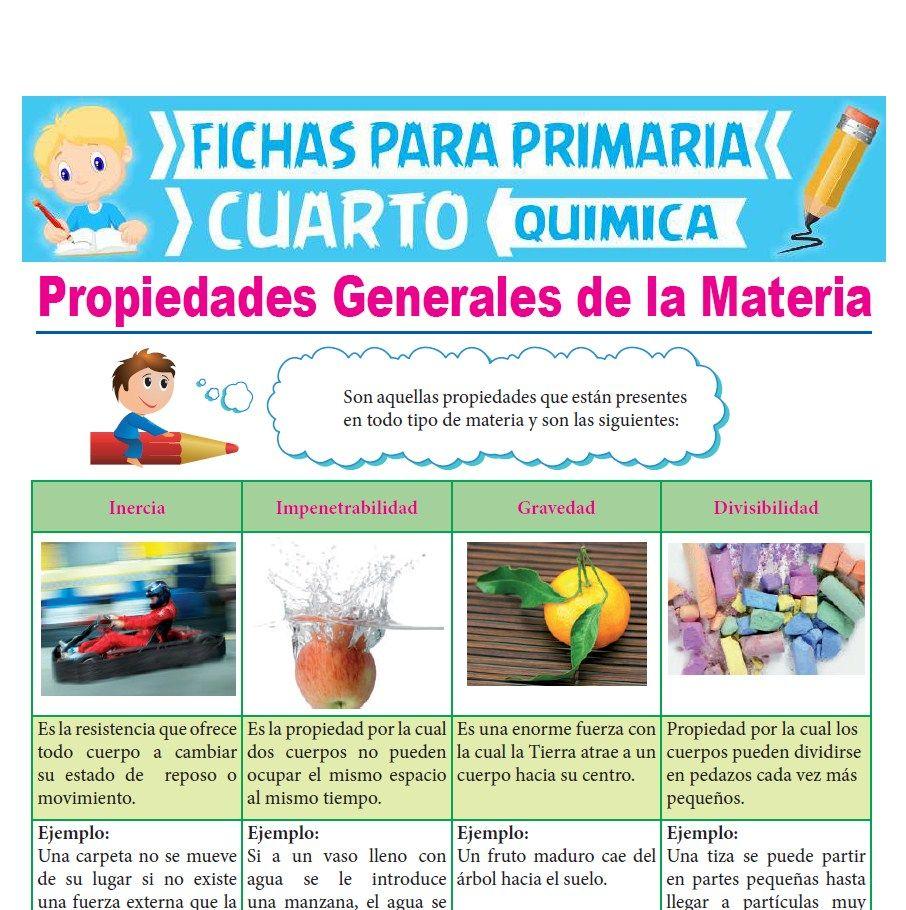 Ficha de Propiedades Generales de la Materia para Cuarto Grado de Primaria