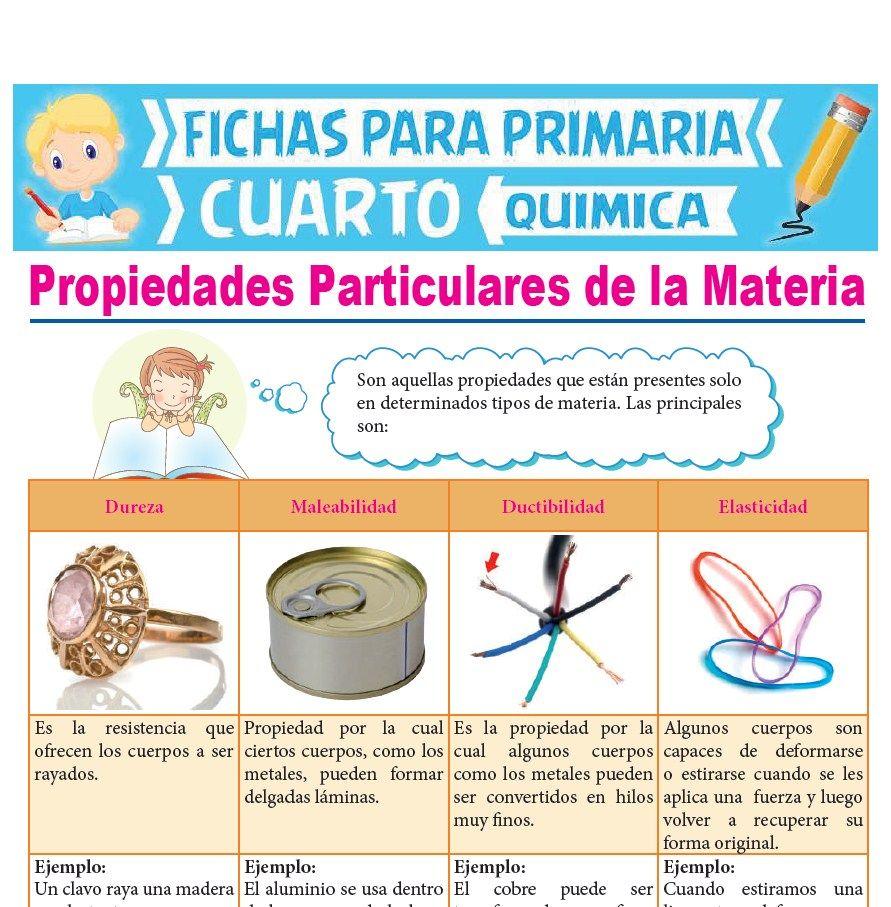 Ficha de Propiedades Particulares de la Materia para Cuarto Grado de Primaria