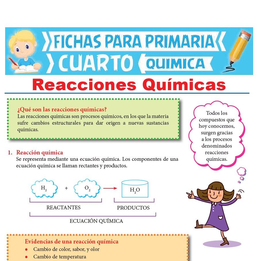 Ficha de Reacciones Químicas para Cuarto Grado de Primaria