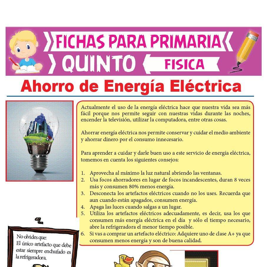 Ficha de Ahorro de Energía Eléctrica para Quinto Grado de Primaria