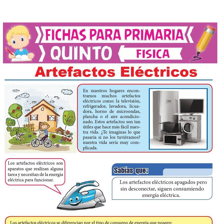 Ficha de Artefactos Eléctricos para Quinto Grado de Primaria