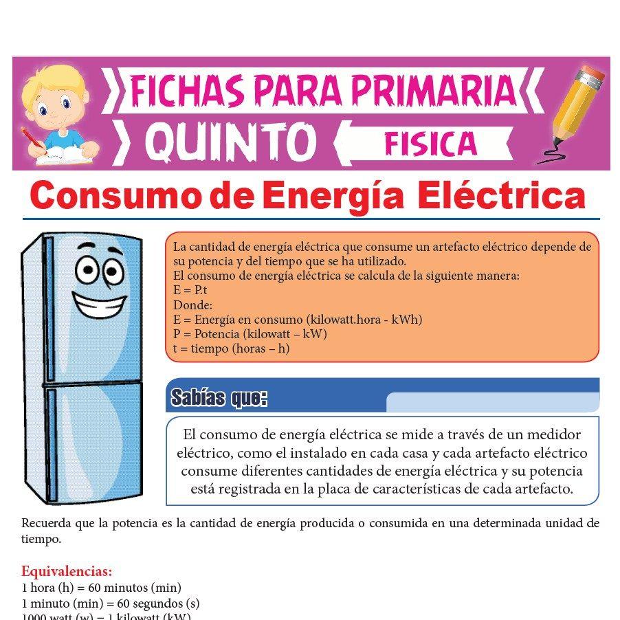 Ficha de Consumo de Energía Eléctrica para Quinto Grado de Primaria