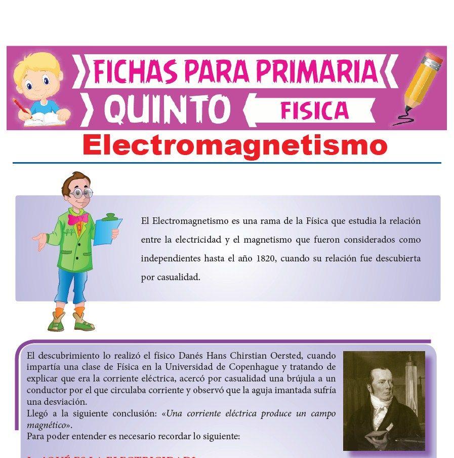 Ficha de Electromagnetismo para Quinto Grado de Primaria