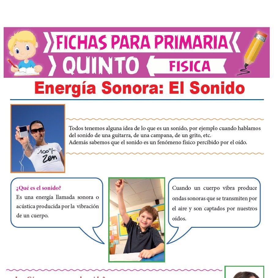 Ficha de Energía Sonora para Quinto Grado de Primaria