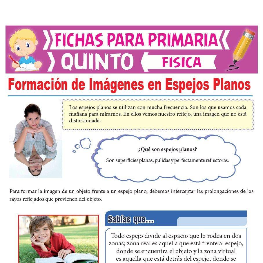 Ficha de Formación de Imágenes en Espejos Planos para Quinto Grado de Primaria