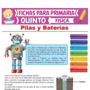 Ficha de Pilas y Baterías para Quinto Grado de Primaria
