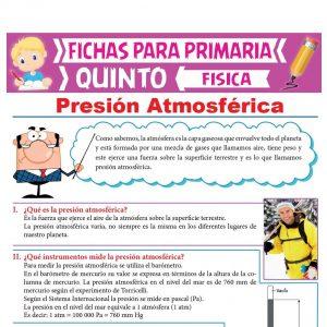 Ficha de Presión Atmosférica para Quinto Grado de Primaria