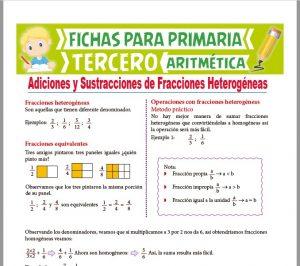 Ficha de Adición y Sustracción de Fracciones Heterogéneas para Tercer Grado de Primaria