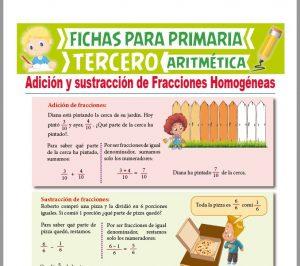 Ficha de Adición y Sustracción de Fracciones Homogéneas para Tercer Grado de Primaria