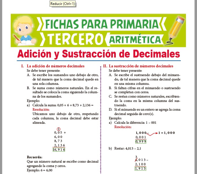 Ficha de Adición y Sustracción de Números Decimales para Tercer Grado de Primaria