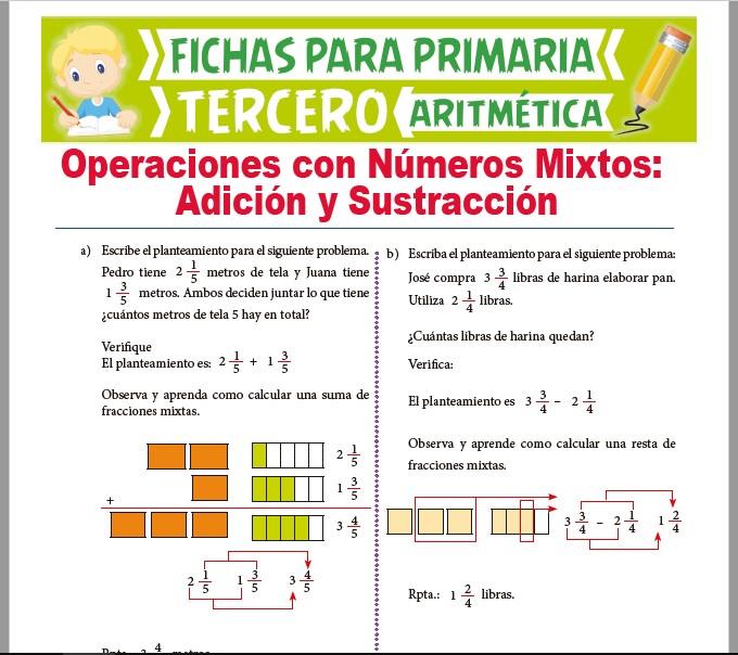 Ficha de Adición y Sustracción de Números Mixtos para Tercer Grado de Primaria