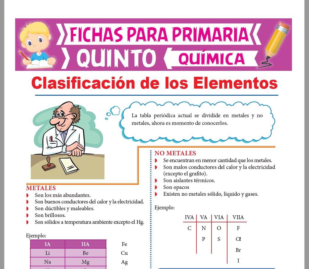 Ficha de Clasificación de los Elementos para Quinto Grado de Primaria