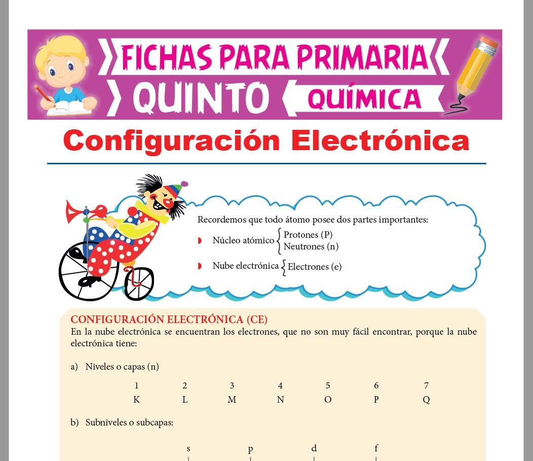 Ficha de Configuración Electrónica para Quinto Grado de Primaria