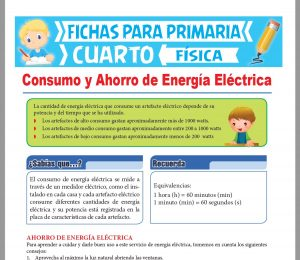 Ficha de Consumo y Ahorro de Energía Eléctrica para Cuarto Grado de Primaria