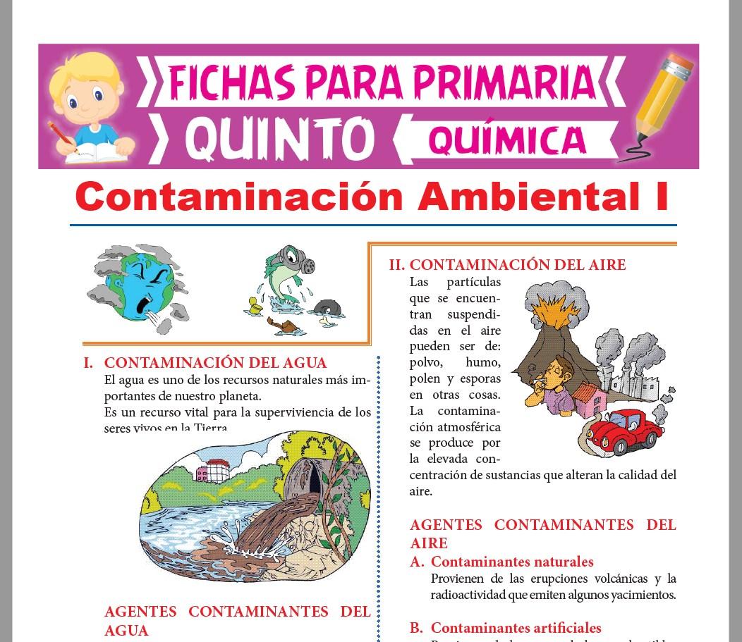 Ficha de Contaminación del Agua y del Aire para Quinto Grado de Primaria