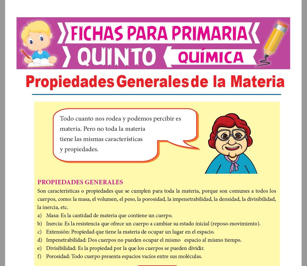 Ficha de Cuales son las Propiedades Generales de la Materia para Quinto Grado de Primaria