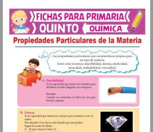 Ficha de Cuales son las Propiedades Particulares de la Materia para Quinto Grado de Primaria