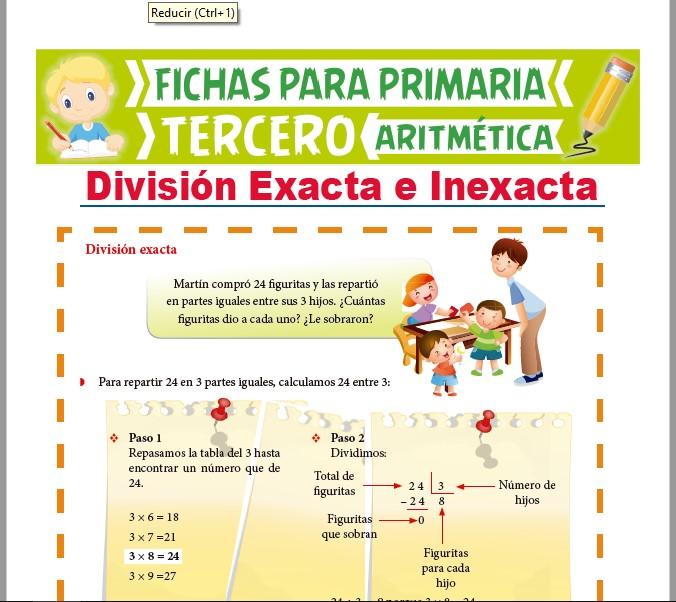 Ficha de División Exacta e Inexacta para Tercer Grado de Primaria