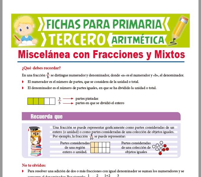 Ficha de Ejercicios de fracciones y Mixtos para Tercer Grado de Primaria