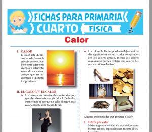 Ficha de El Calor para Cuarto Grado de Primaria