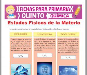 Ficha de Estados Físicos de la Materia para Quinto Grado de Primaria