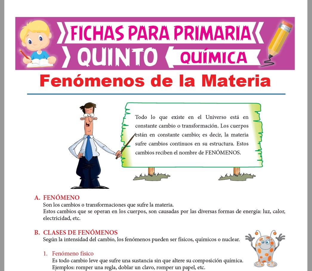Ficha de Fenómenos de la Materia para Quinto Grado de Primaria
