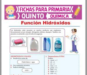 Ficha de Función Hidróxidos para Quinto Grado de Primaria