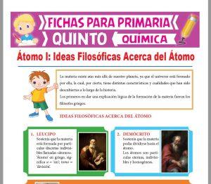 Ficha de Ideas Filosóficas Acerca del Átomo para Quinto Grado de Primaria