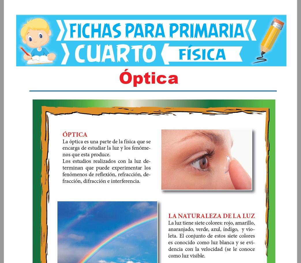 Ficha de Introducción a la Optica para Cuarto Grado de Primaria