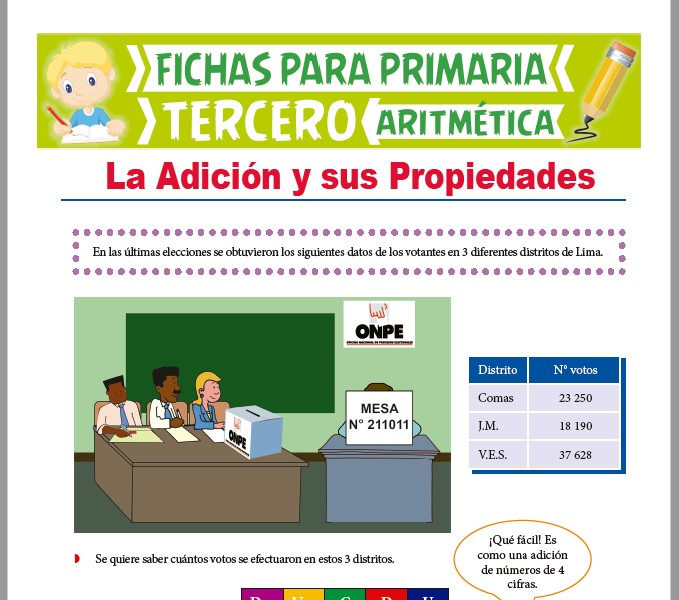 Ficha de La Adición y sus Propiedades para Tercer Grado de Primaria