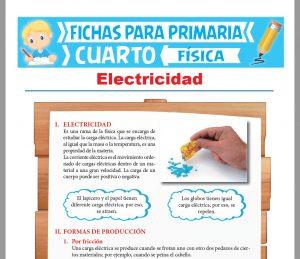 Ficha de La Electricidad para Cuarto Grado de Primaria