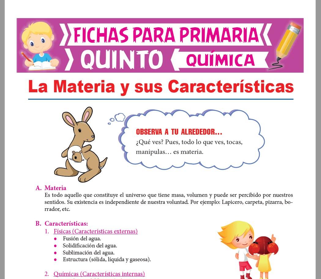 Ficha de La Materia y sus Características para Quinto Grado de Primaria