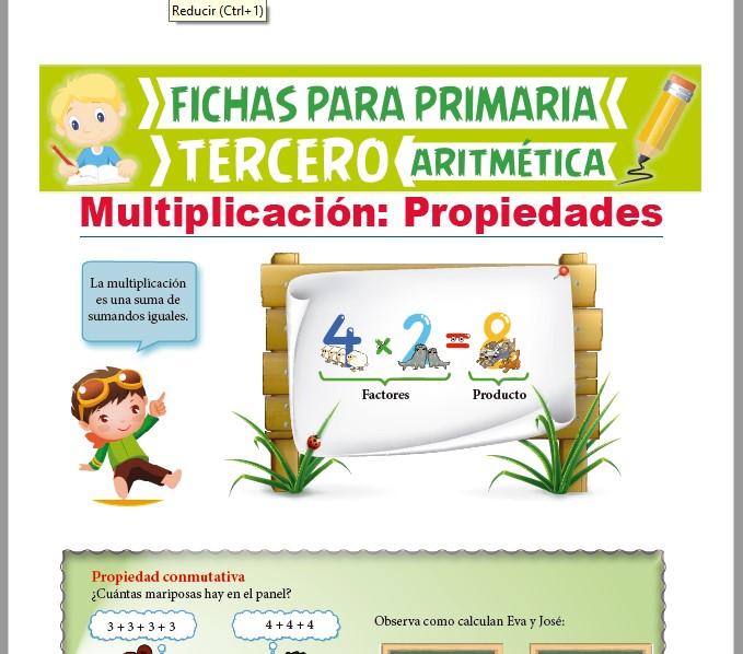 Ficha de La Multiplicación y sus Propiedades para Tercer Grado de Primaria