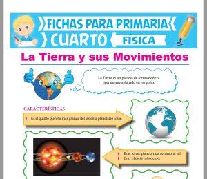 Ficha de La Tierra y sus Movimientos para Cuarto Grado de Primaria