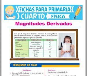 Ficha de Las Magnitudes Derivadas para Cuarto Grado de Primaria