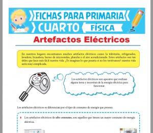 Ficha de Los Artefactos Eléctricos para Cuarto Grado de Primaria