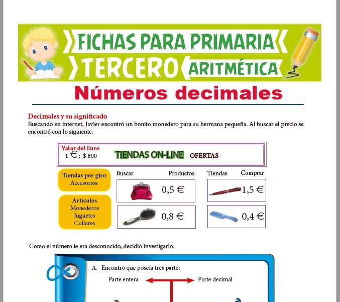 Ficha de Los Números Decimales para Tercer Grado de Primaria