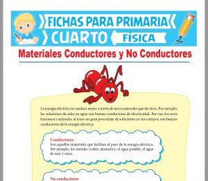 Ficha de Materiales Conductores y No Conductores para Cuarto Grado de Primaria